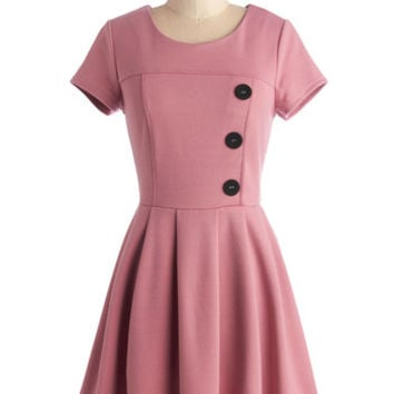 ModCloth Vintage Inspired Short Length Cap Sleeves A-line Either Or Dress in Pink