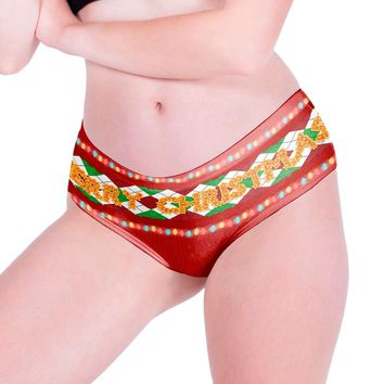 Ladies Hipsters Panties Christmas Themed Panties Christmas Print Underwear Novelty Daily G-String low-Rise Women's Intimates @17