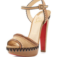 Christian Louboutin Trepi Leather 140mm Red Sole Sandal, Hazelnut (Noisette)