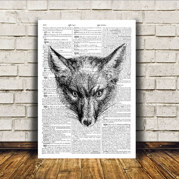 Dictionary print Fox poster Modern decor Animal art RTA7