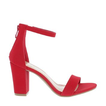 Ankle Strap Mid Chunky Heel (RED)