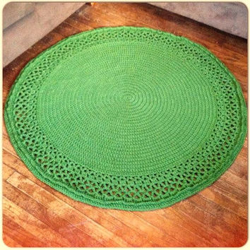 "Large Thick Soft Crochet 51"" Round Swirl Doily Grass Green Area Rug Wool Handmade NEW Color Choices (shown Off White) Mat Housewares Decor"