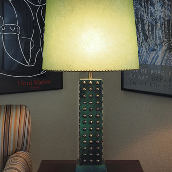 XLARGE Brass Studded Green Leather Wrapped Table Lamp in the Style of Tommi Parzinger with Laced Fiberglass Shade
