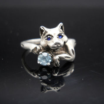 Cat Ring Sterling Silver 925 Size 8 Sapphire Eyes Topaz Small Band