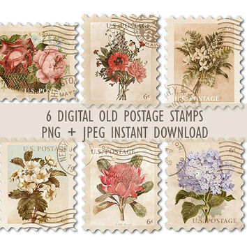 Digital collage sheet vintage floral stamps #2, instant download PNG, scrapbooking, paper crafts, card making, mixed media, commercial use