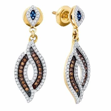 10kt Yellow Gold Women's Round Brown Blue Color Enhanced Diamond Dangle Earrings 1-2 Cttw - FREE Shipping (US/CAN)