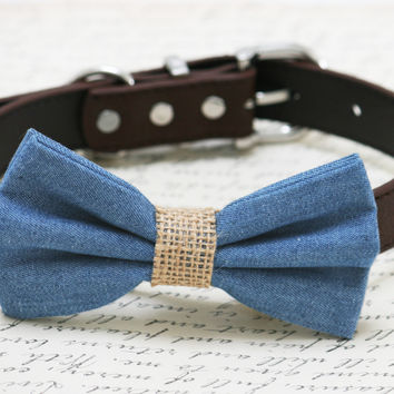 Blue and brown dog bow tie -Blue Burlap dog bow tie, wedding dog collar, Country, Rustic Wedding , dog birthday gift, denim bow tie