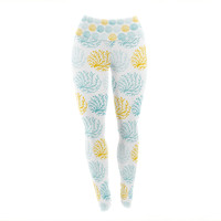 "Anchobee ""Coralina"" Teal Yellow Yoga Leggings"