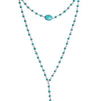 Turquoise Smooth Stone Wrap Necklace