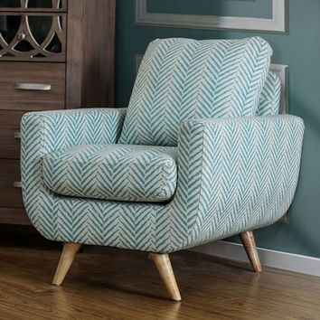 Zaragoza collection mid century modern style blue striped pattern fabric upholstered accent chair