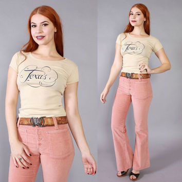 Vintage 70s BELL BOTTOMS / 1970s Dusty PINK Corduroy Sailor Style Bells Pants xs