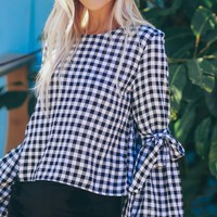 Gingham Bell Sleeve Top Black
