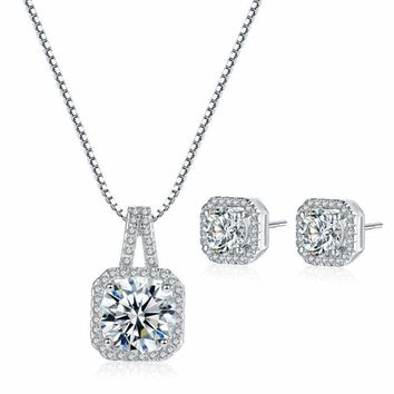 Princess Cut White Gold CZ Crystal Stud Earrings Pendant Necklace Jewelry Set