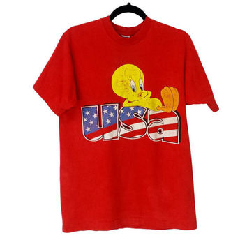 Tweety Bird Shirt USA 90s Looney Tunes T-Shirt Vintage Graphic Tee Worn Distressed Holey Grunge Faded Bleached Trashed Burnout Patriotic Top