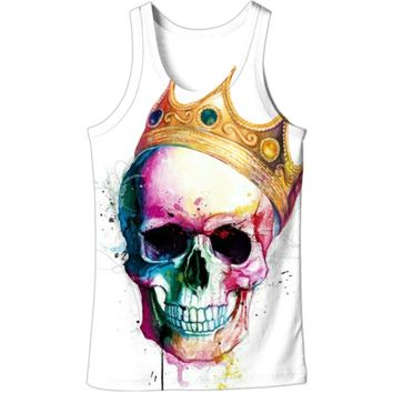 3D Tank Tops Men Crown Colorful Skull 3D Print Vest Sleeveless Summer Casual Streetwear Tops Plus Size 5XL