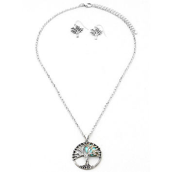 Tree of Life Turquoise Moon Necklace & Earring Set