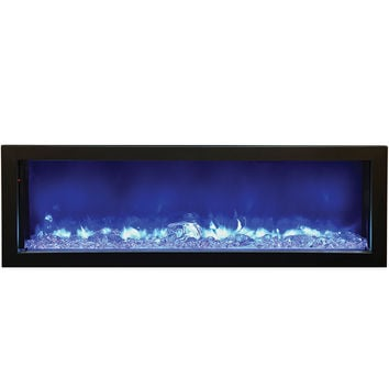 "Fire & Ice Series Built LED Fire Effect Electric Fireplace 49"" Steel Black Frame"