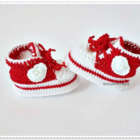 Crochet baby shoes Red baby shoes Unique booties Baby shoes Baby shoes Newborn gift  Baby boy Baby girl Crib shoes Newborn baby shoes