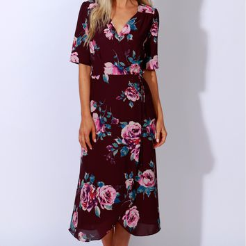 Sugar Me Up Print Dress Dark Plum