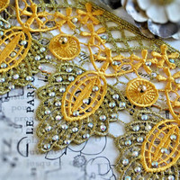 Beautiful Beaded Metallic Two Toned Gold Lace Trim, Couture Design, Dressmaking, Sewing, Bridal, Wedding Lace, Crafting Lace, etc 121B