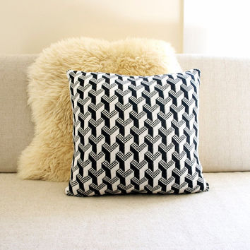 Decorative Pillow Cover - black & white with mustard back