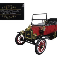 1915 Ford Model T Roadster Converible Red 1-18 Diecast Model Car by Motorcity Classics