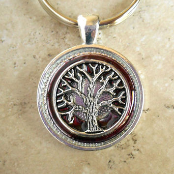 Tree of Life Keychain: Plum - Mens Keychain - Celtic Keychain - Unique Keychain - Boyfriend Gift - Fathers Day - Womens Keychain