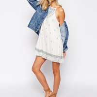 Abercrombie & Fitch Embroidered Open Back Cheesecloth Boho Dress