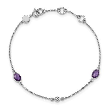 Amethyst and Diamond Adj. Station Bracelet in Rhodium Plated Silver