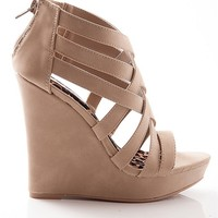 Qupid Treat Your Feet Strappy Criss Cross Platform Wedge Sandals - Taupe