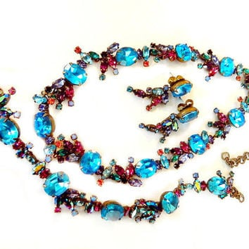 Sorrelli Austria Crystal Blue Multicolor Jewelry Necklace Bracelet Earrings High Fashion Elite Vintage Jewelry Spring Summer