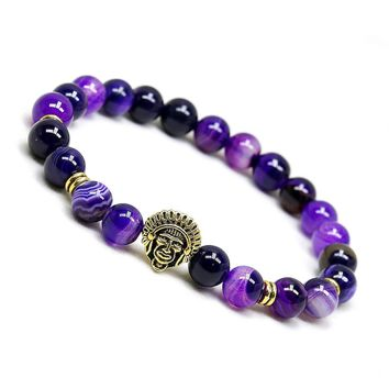 Indian Head Natural Purple Agate Bracelet