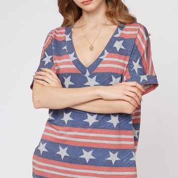 Red/Blue Flag Print V Neck Top