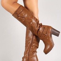Push Pin Strappy Chunky Heel Knee High Boot Color: Camel, Size: 10