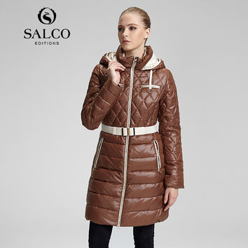 SALCO Free shipping Sell like hot cakes in 2016 the new diamond lattice of cultivate one's morality even cap long down jacket