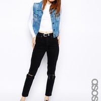 ASOS TALL Farleigh High Waist Slim Mom Jeans in Washed Black with Bust