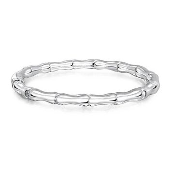 Bamboo Hinge Bangle Bracelet Stackable Shiny 925 Sterling Silver