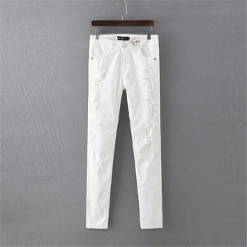 Korean Summer Women's Fashion White Ripped Holes Slim Denim Pen Pants [4920286404]