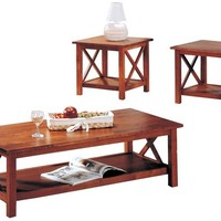 A.M.B. Furniture & Design :: Living room furniture :: Coffee table sets :: 3 pc brown finish wood coffee and end table set with cross design legs
