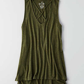 AEO Soft & Sexy Heathered Tank, Olive