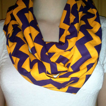 Purple & Gold Chevron Infinity Scarf - Perfect for LSU Fans