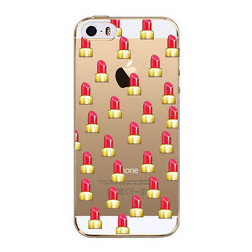 Luxury Lip Stick Emoji Transparent Soft Silicone Phone Back Cover Case For iPhone 5 5S SE