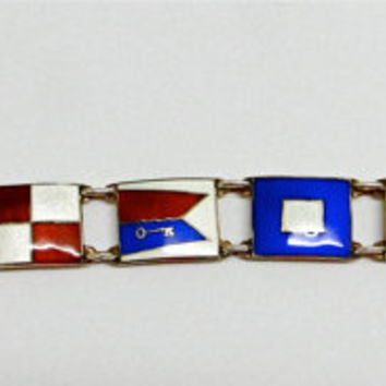 Opro Enamel Nautical Flag bracelet. Signal flags. Norway sterling.