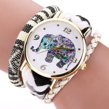 Ladies Leather Fashion Luxury Gold Elephant Dress Watch