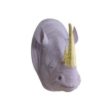 The Serengeti | Large Rhino Head | Faux Taxidermy | Lavender + Gold Glitter Horns Resin