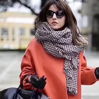 DIOR Tartan Print Warm Winter Cape Scarf Scarves