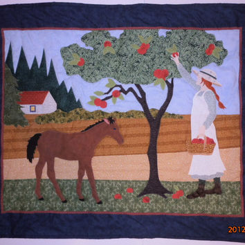 Anne of Green Gables Applique Quilt, Wall Art, Anne Picking Apples, Quilted Wall Hanging, Appliqued Quilt