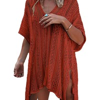 Wander Agio Beach Swimsuit For Women Sleeve Coverups Bikini Cover Up Net