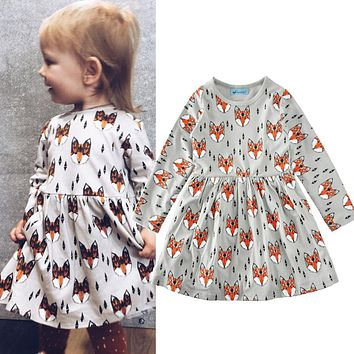 Baby Girls Spring Autumn Baby Girls Dresses kids Printing Cartoon Animal Toddler Casual Dress For children Clothes