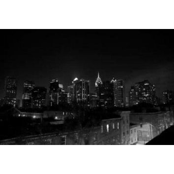 Philadelphia Skyline poster Metal Sign Wall Art 8in x 12in Black and White